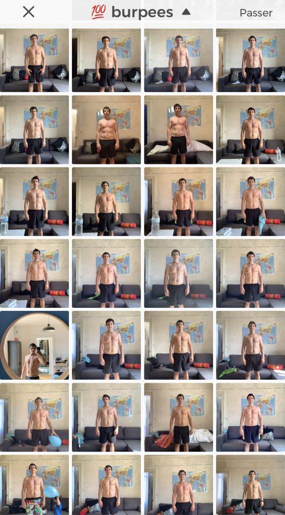 selfies après 100 burpees
